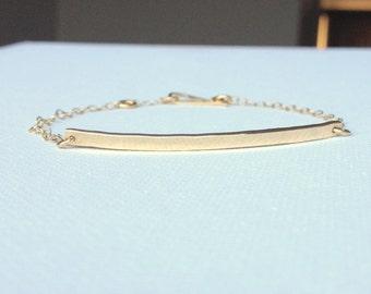 Nameplate Bracelet - Gold Bar Bracelet - 14k Gold Filled Bracelet - Gold Minimalist Bracelet - Simple Gold Bracelet - Skinny Gold Bar