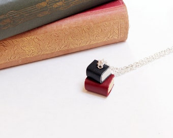 Miniature Handcrafted Book Necklace- Pile of Two Books-  Maroon and Black Leather -Teeny Tiny, Miniature, Literature- OOAK