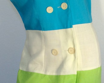 FREE SHIPPING       1960 Color Block Mod Dress   Never Used
