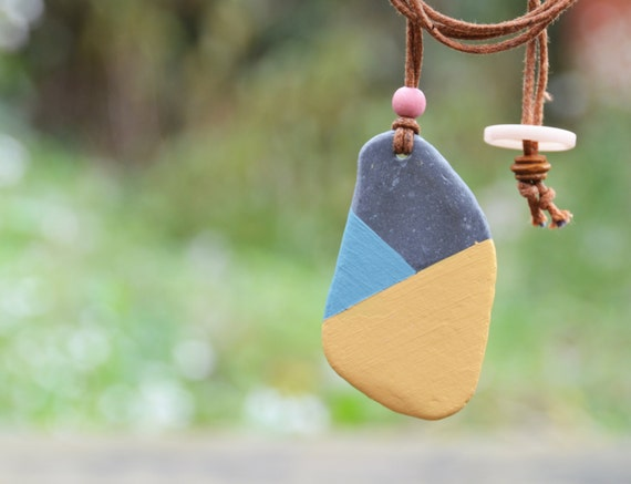 Painted Slate Pendant Duck Egg Blue Yellow