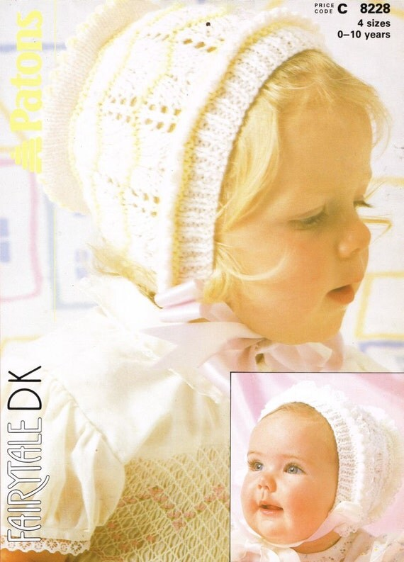 Vintage Knitting Patterns Baby Hats : baby bonnet hat vintage knitting pattern PDF instant download