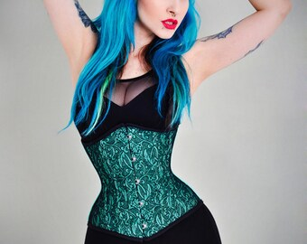 Cyan lace waist training tightlacing steel boned underbust corset