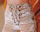 Crushed Velvet Lace Up Shorts