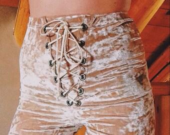 Crushed Velvet Lace Up Shorts, festival wear, grommet shorts, stretch