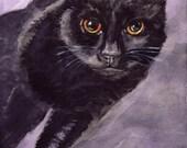 Beautiful Black Cat Print of  Original Watercolor Painting in Greeting Cards or Prints