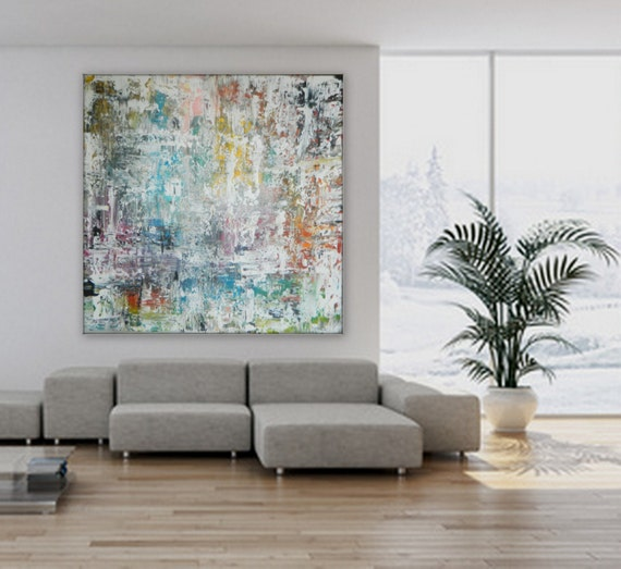 huge large xl original wall art decor Large Original Abstract acrylic painting wall art deco acrylic White blue green orange, yellow, black