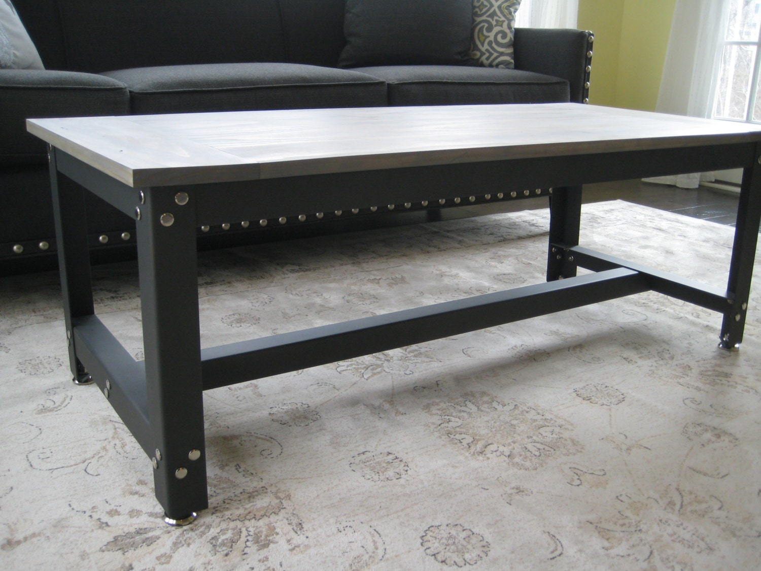 metal and wood rustic industrial coffee table. Black Bedroom Furniture Sets. Home Design Ideas
