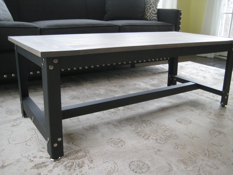 Metal And Wood Rustic Industrial Coffee Table