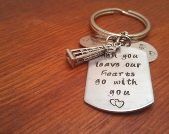 "Hand stamped personalized dog tag key chain oilfield-""Our hearts go with you.""-Oilfield gift-Oilfield keychain-Roughneck gift-Oilfield life"