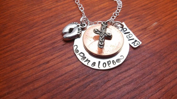 baby feet charm layered penny necklace