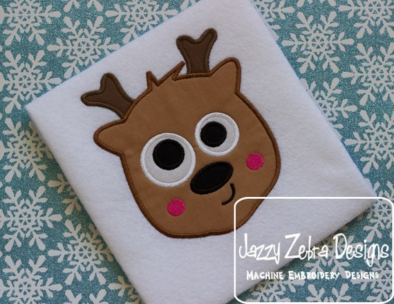 Reindeer with Crazy Eyes Appliqué embroidery Design - Reindeer Appliqué Design - Christmas Applique Design