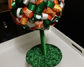 X-Large University of Miami Hurricanes Ribbon Topiary. Most NCAA teams available. Game-watching/birthday party decoration/gifts/room decor!