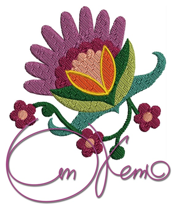 Machine embroidery file hungarian flower
