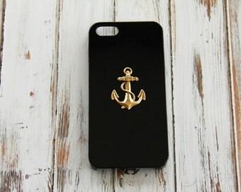 Anchor iPhone 5 5s Case Hard Plastic iPhone 5c Anchor iPhone 6 Nautical Case iPhone 5c Black Gold iPhone Case iPhone Anchor Phone Case