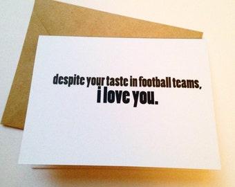 Football Card - Funny Love Card - Boyfriend Card - Husband Card - Sports Greeting Card