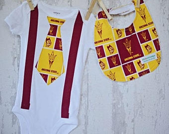 ARIZONA STATE Onesie with  Suspenders and Arizona State Tie/ Arizona Bib/Arizona State Colors/Football/Photo Prop/Made to Order
