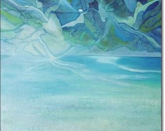 Abstract Landscape Art Acrylic Canvas Painting CONTEMPORARY ART ORIGINAL Fine Art Seascape Turquoise Painting 24x24x1,5 (60cmx60cmx3,6cm)
