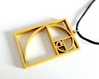 Fibonacci Spiral Wooden Pendant