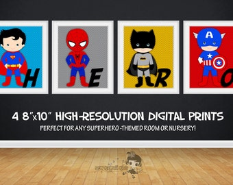 SALE 25% OFF Superhero Wall Art, Superhero Posters, Bedroom Prints Nursery Prints Superheroes Digital Art Printables 4 - 8x10 Digital Prints