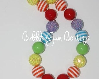 Rainbow Pendant Bubbble Gum Bead Necklace