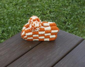 Hand Knitted Kid's Slippers in Orange & Beige