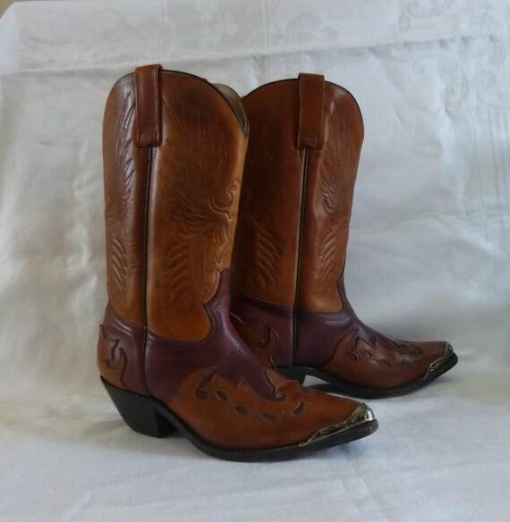 vintage cowboy boots bi colour brown womens size by