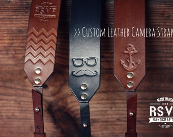 Custom Leather Camera Strap, Handmade personalized gift, hipster style, hand stitched. Choose color, stamp, custom text, name, initials