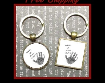 Baby's Handprint Keychain, Personalized keychain for family keepsake and memories