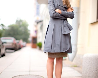 Outerwear Elegant fall trench Wrap coat Trench coat Gray jacket Light coat Long Jacket