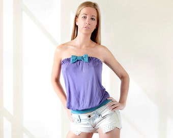 Day top Purple top Cute top Loose top Bandeau top Beach top Bowknot top