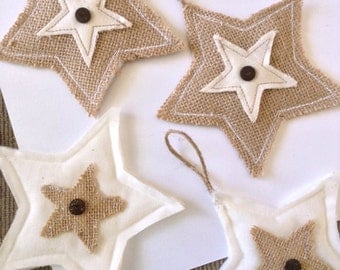 Burlap Stars Ornaments / Burlap and Muslim Fabric Stars / Stars Handmade Ornaments /Burlap Hanging Stars / set of 4 / Burlap Christmas Stars
