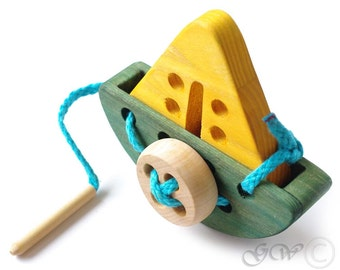 Wooden Lacing Toy, Wooden Ship Toy