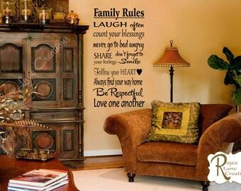 Family Decal Family Rules Vinyl Family Wall Decal- Family Rules Decals- Family Rules Wall Decals