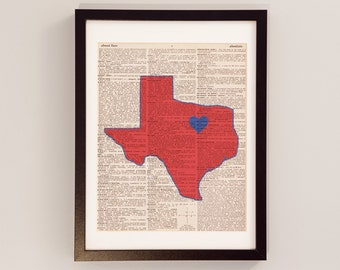 SMU Mustangs Dictionary Art Print - Southern Methodist University, Dallas Texas - Print on Vintage Dictionary Paper - Graduation Gift
