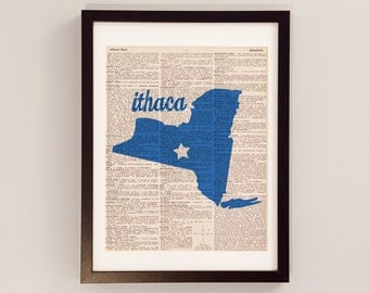 Ithaca New York Dictionart Art Print - Ithaca College - Print on Vintage Dictionary Paper - Ithaca Bombers, Gorges, Ithaca NY Art