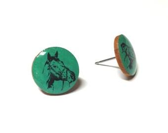 Horse Earring Studs, Wood Earrings, Wood Studs, Horse Studs, Wooden Horse Studs, Horse Wood Studs