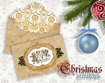 CHRISTMAS BABYes - Printable Download Digital Collage Sheet Envelope with print on reverse side - Print and Cut