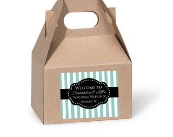 Gable Box Labels for Wedding Guests Custom Welcome Bag Stickers for out of town guests