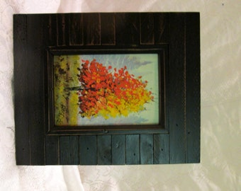 Fall landscape single tree original painting frame included