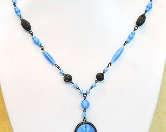 Vintage Blue Glass Bead Necklace