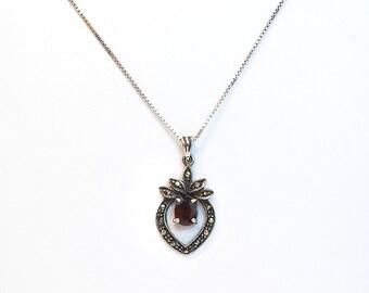 Vintage Necklace - Vintage Sterling Silver, Garnet, & Marcasite Necklace