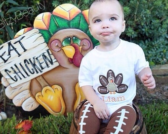 Boys thanksgiving turkey personalized football shirt