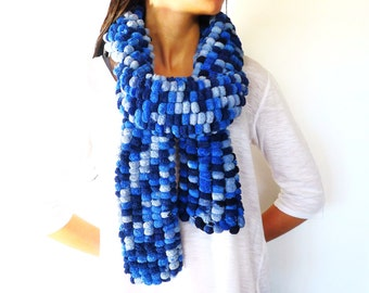 Blue chunky scarf. Unique scarves for women. Pom pom yarn scarf. Knitted scarf. Gift idea for her