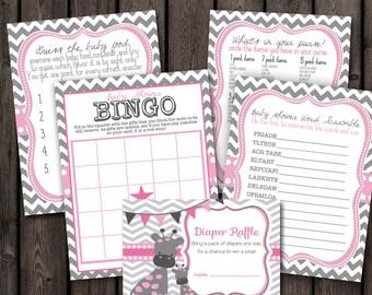 giraffe theme baby shower games, pink and gray chevron baby shower games, giraffe baby shower, word scramble, purse game, diaper raffle