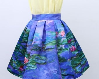 FineArt Collection Vintage style Impressionism Monet Water Lilies The Lotus dark blue floral short skirt/mid puffy skirt/long artist skirt