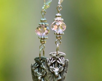 Arrowhead Antler Deer Buck Pewter Pendant Earrings with Pink Crystal Bead & Silver Accents USA Made with FREE SHIPPING