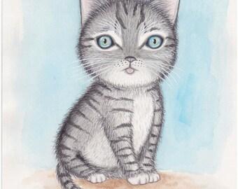 Cat art. Nursery art. Gift for her women girl. Grey cat kitten original watercolor painting. Whimsical cat art. Kids room art Cat lover gift