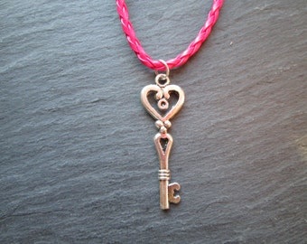 Silver Skeleton Key on Pink Braided Necklace