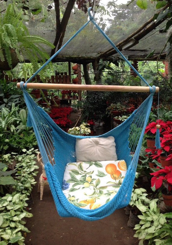 Light Blue Handwoven Hammock Chair