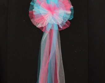 Hot Pink Turquoise White Tulle Wedding Pew Bows Church Ceremony Asile Decorations